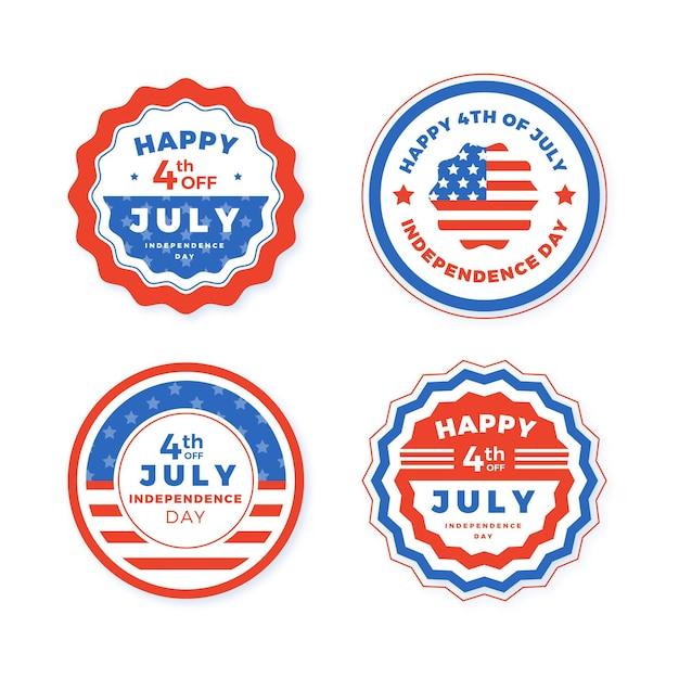 Lot D'étiquettes Du 4 Juillet Fête De L'indépendance Vecteur gratuit