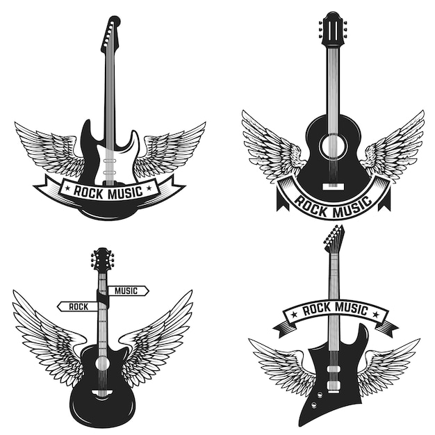 Lot D'étiquettes Avec Guitares Et Ailes. Musique Rock. éléments Pour Emblème, Signe, Insigne. Illustration Vecteur Premium
