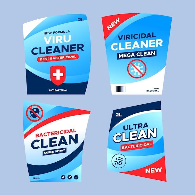 Lot D'étiquettes Nettoyantes Viricides Et Bactéricides Différentes Vecteur gratuit