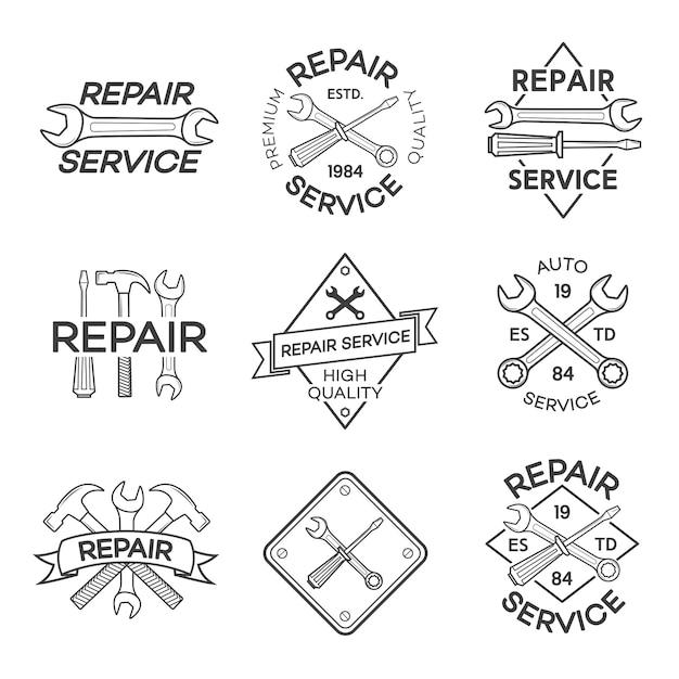 Lot d'étiquettes de réparation et de service auto isolés sur blanc Vecteur Premium