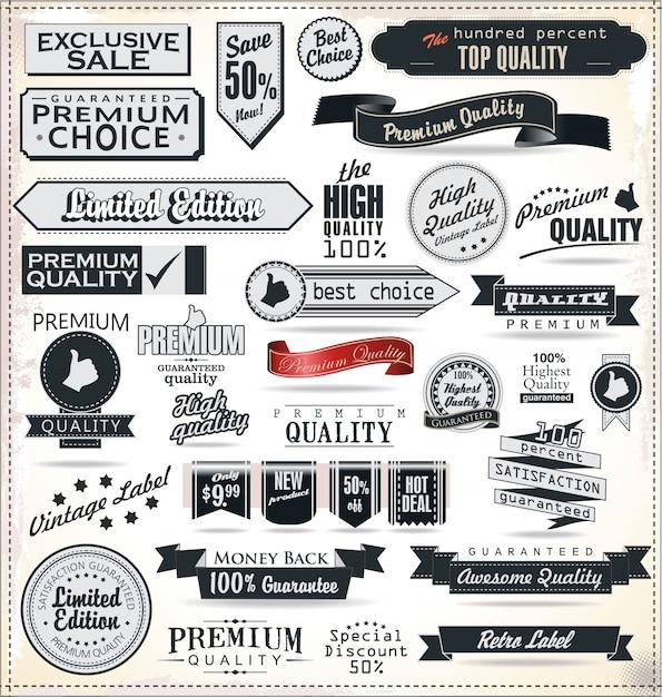 Lot d'étiquettes rétro vintage Vecteur Premium