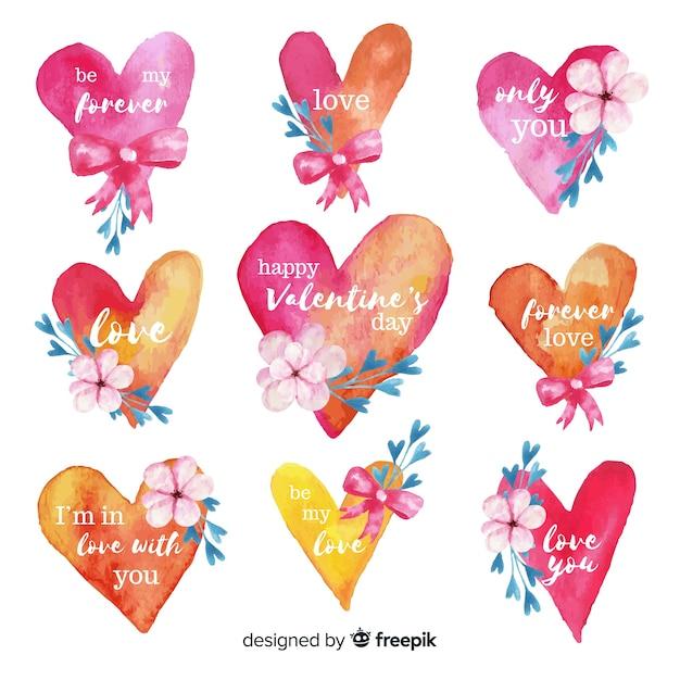 Lot d'étiquettes de saint valentin avec coeurs Vecteur gratuit