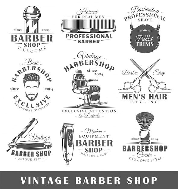 Lot D'étiquettes De Salon De Coiffure Vintage Vecteur Premium