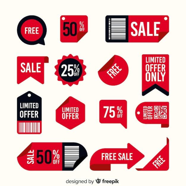 Lot d'étiquettes de vente avec différentes offres Vecteur gratuit