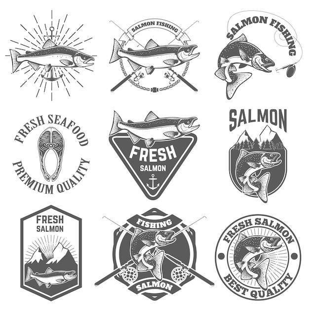 Lot d'étiquettes vintage avec poisson saumon Vecteur Premium