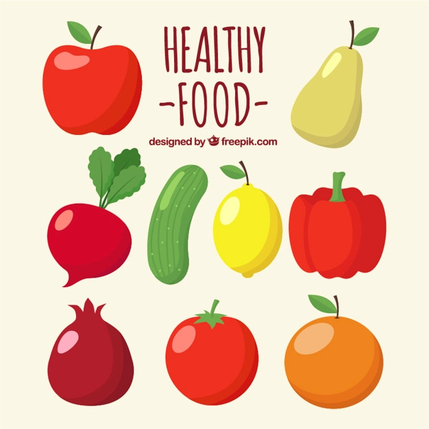 Lot De Fruits Et Légumes Vecteur gratuit