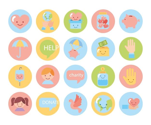 Lot d'icônes de campagne de charité Vecteur gratuit