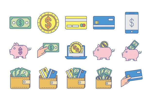 Lot D'icônes D'échange D'argent Vecteur gratuit