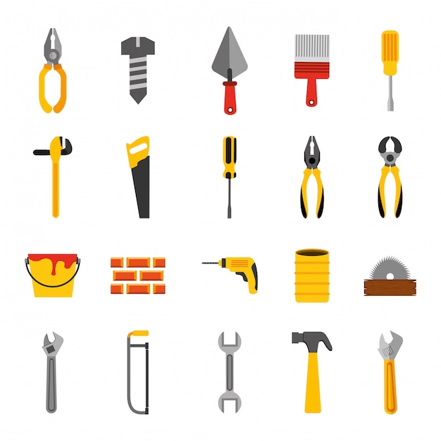 Lot D'icônes D'outils De Construction Vecteur gratuit