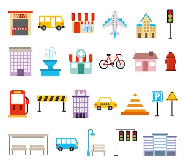 Lot d'icônes urbaines de la ville Vecteur gratuit