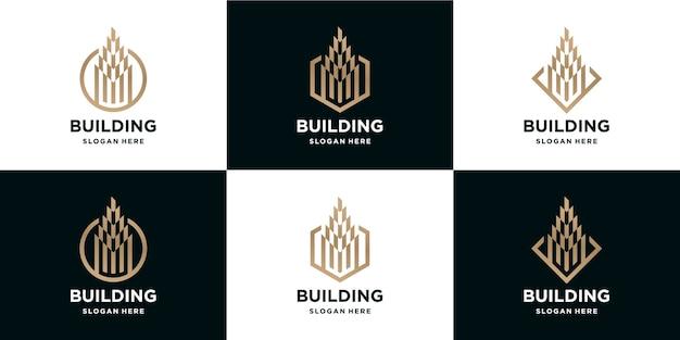 Lot De Logos De Bâtiments De Luxe Vecteur Premium