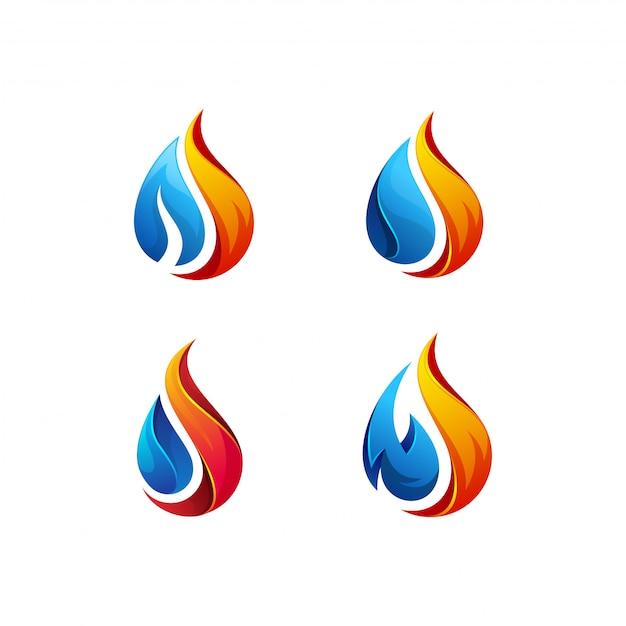 Lot de logos de pétrole et de gaz Vecteur Premium