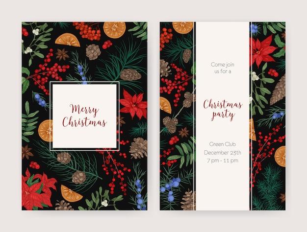 Lot De Modèles De Flyers, Cartes Ou Invitations De Noël Décorés De Plantes Saisonnières Dessinées à La Main Vecteur Premium