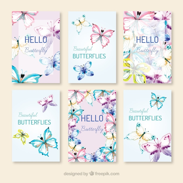 Lot de papillons cartes dessinées à la main Vecteur gratuit