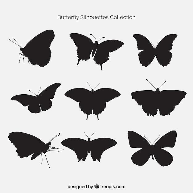 Lot De Papillons Silhouettes Vecteur gratuit