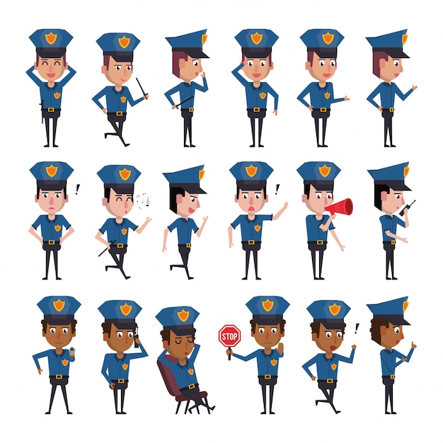 Lot de personnages de policiers Vecteur Premium