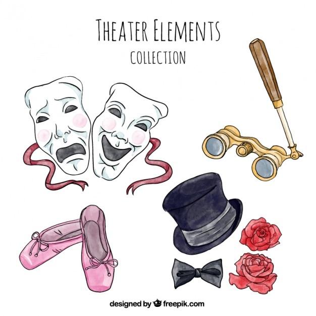 Lot de pièces de théâtre dans le style d'aquarelle Vecteur gratuit