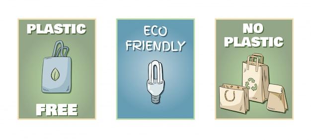 Lot de posters en plastique gratuit Vecteur Premium