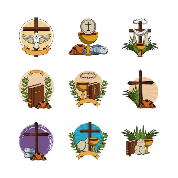 Lot de première communion set d'icônes Vecteur Premium
