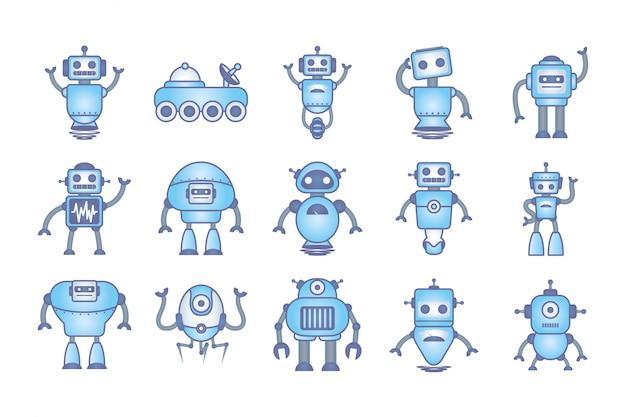 Lot de robots cyborg set d'icônes Vecteur gratuit