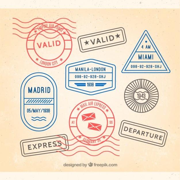 Lot de timbres colorés de voyages Vecteur gratuit