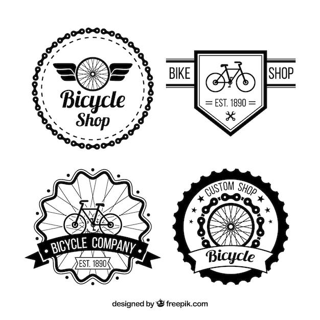 Lot de vélos insignes dans le style rétro Vecteur gratuit