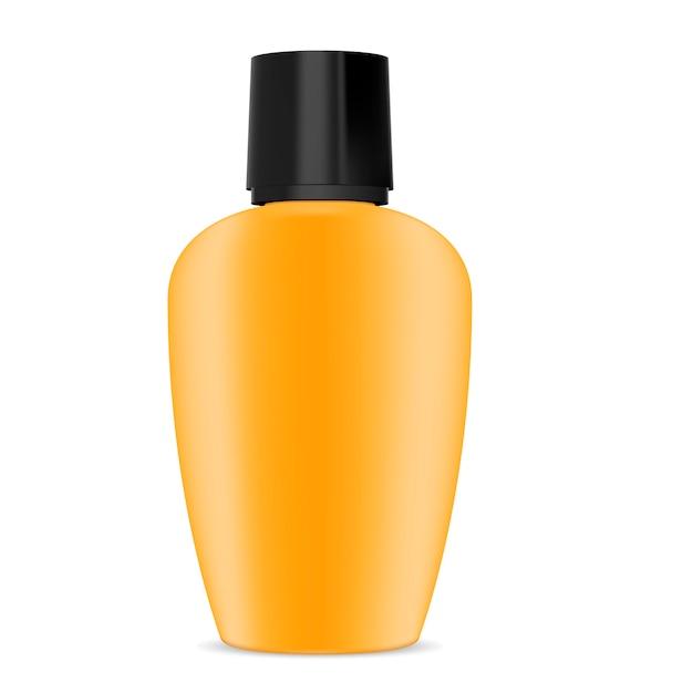 Lotion de crème solaire de bouteille en plastique Vecteur Premium