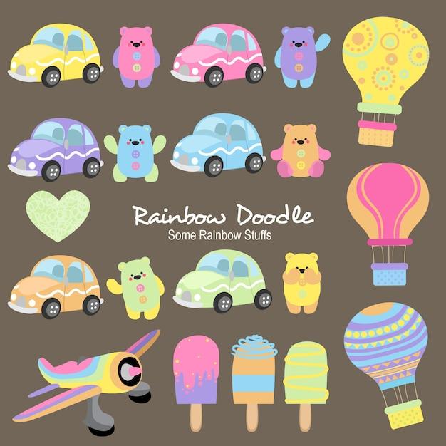 Louise rainbow objects doodle Vecteur Premium