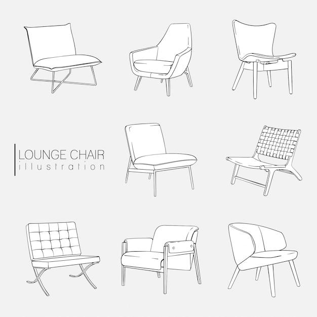 Lounge chair illustration set Vecteur Premium