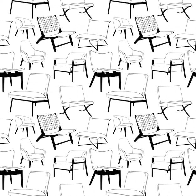 Lounge chair seamless pattern Vecteur Premium