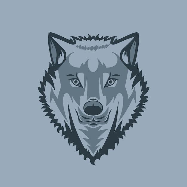 Loup blanc regardant droit Vecteur Premium