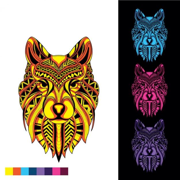 Loup décoratif brille dans le noir Vecteur Premium