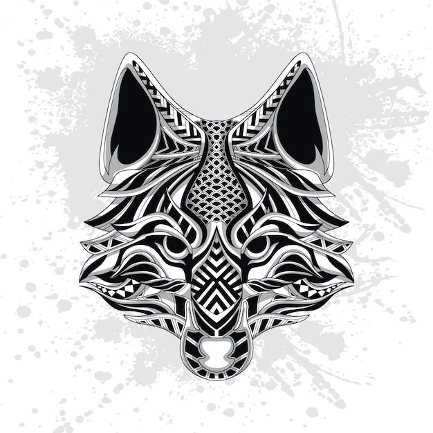 Loup décoré de formes abstraites Vecteur Premium