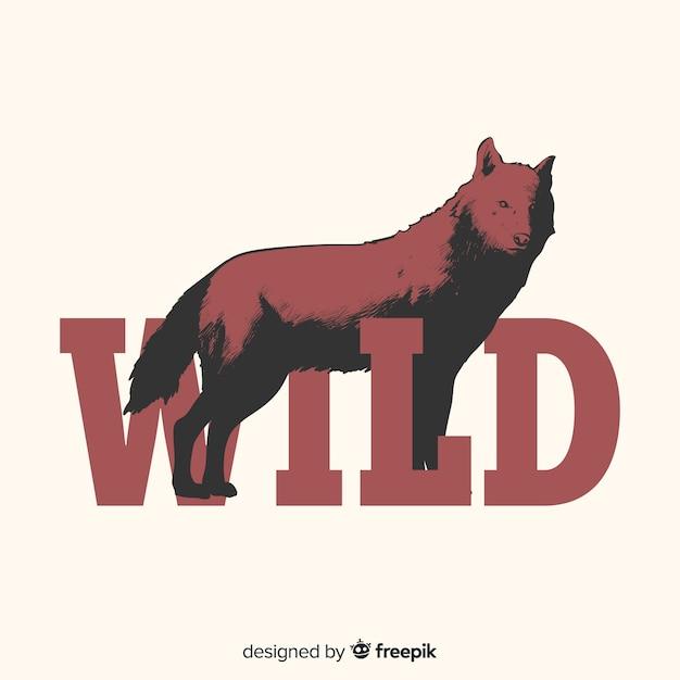 Loup dessiné à la main avec fond de mot Vecteur gratuit