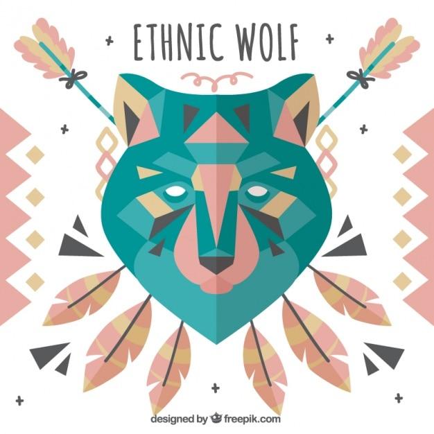 Loup Ethnique Avec Des éléments Décoratifs Vecteur gratuit