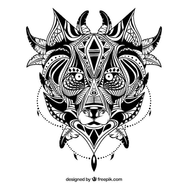 Loup Ethnique Illustré Vecteur gratuit