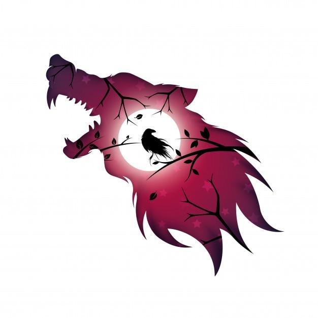 Loup-garou, loup, chien, corbeau - illustration papier Vecteur Premium