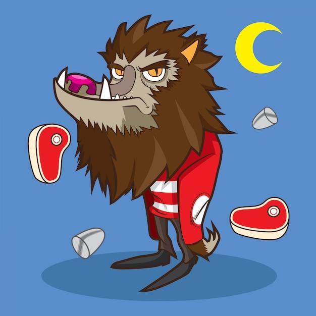 Loup-garou mignon dessin animé halloween Vecteur Premium