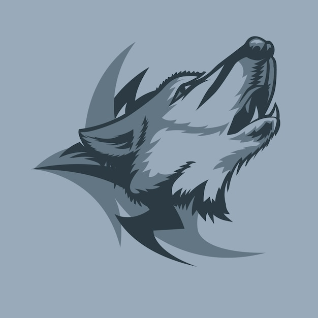 Loup hurlant solitaire et signe tribal derrière Vecteur Premium