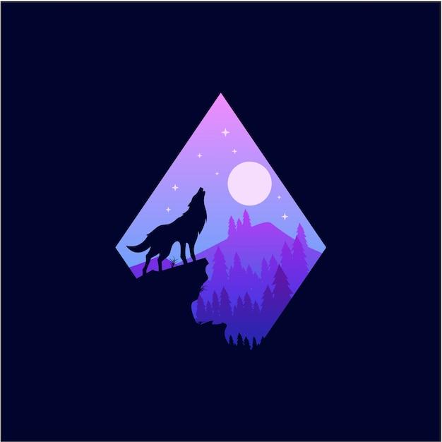 Loup icône lune Vecteur Premium