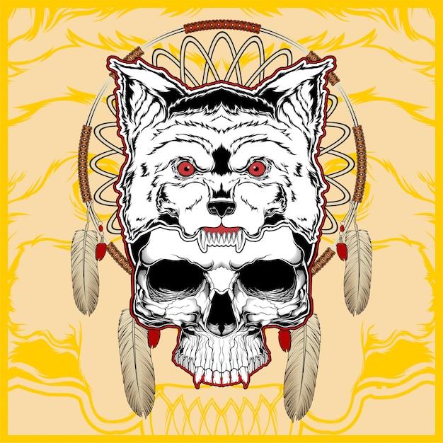 Loup avec main de crâne dessin vectoriel Vecteur Premium
