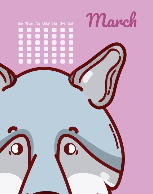 Calendrier Dessin Anime.Loup Mars Calendrier Dessin Anime Vector Illustration
