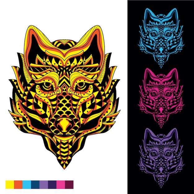 Loup de motif décoratif abstrait avec lueur dans l'ensemble de couleurs sombres Vecteur Premium