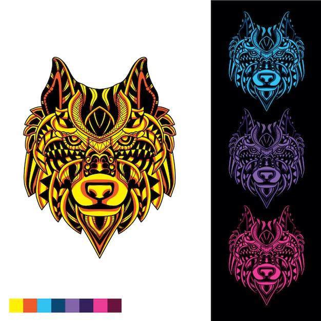 Loup de motif décoratif avec lueur dans l'ensemble de couleurs sombres Vecteur Premium