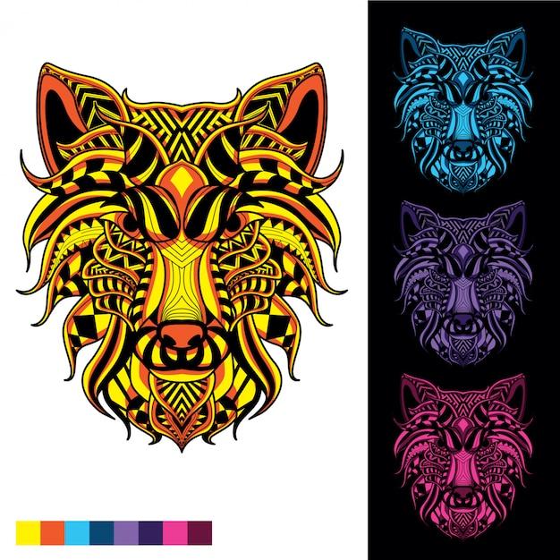 Loup totem de motif décoratif avec éclat dans l'ensemble de couleurs sombres Vecteur Premium