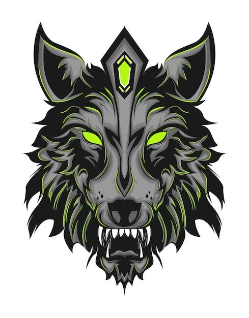 Loup vert Vecteur Premium