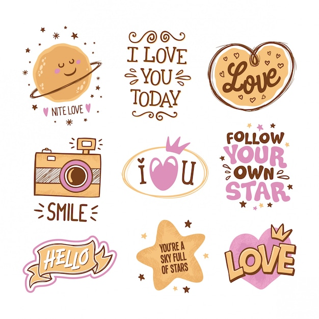 Love And Stars Quotes Hand Drawn In Doodles Vecteur Premium