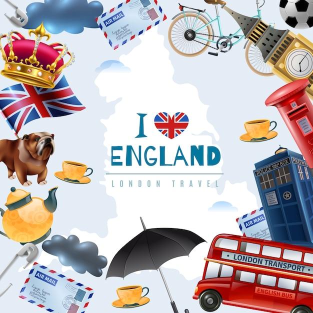 Love england travel background Vecteur gratuit