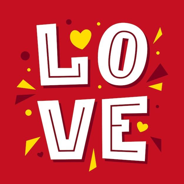 Love lettrage. bonne carte de saint valentin. type de police. Vecteur Premium