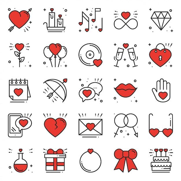 Love line icons set Vecteur Premium